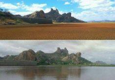 Açude do Cedro no início do ano e depois da chuva do último domingo (5) (FOTOS: Paulla Pinheiro e Sérgio Cordeiro)