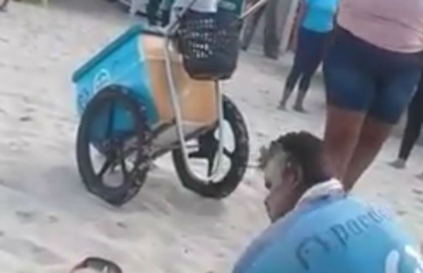 Vendedor de picolé é agredido por seguranças de barraca na Praia do Futuro