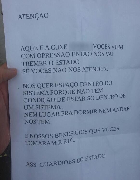 CARTAS AMEAÇAM SSPDS