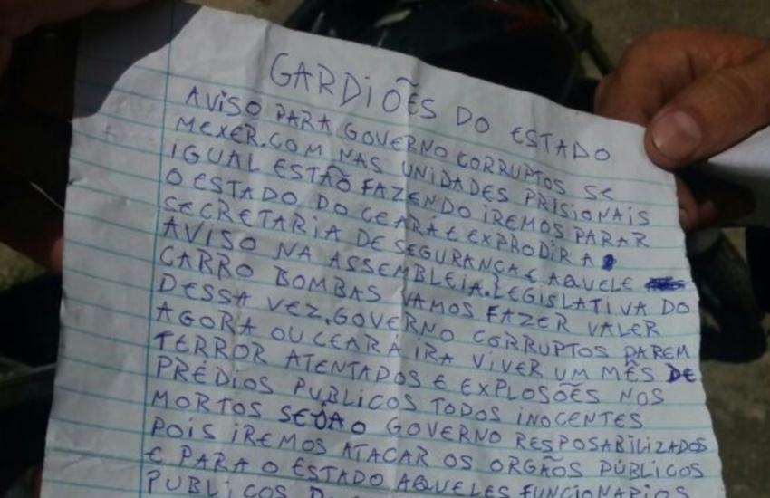 Carta deixada em ônibus incendiado ameaça explodir Assembleia e Secretaria de Segurança