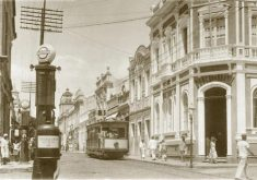 Bonde elétrico na rua Floriano Peixoto. (Arquivo Nirez)