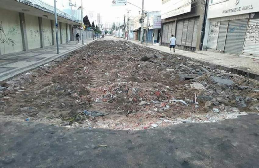 Obra na Rua José Avelino começa poucas horas depois do fim da feira pública