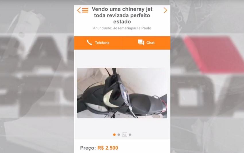 Cearense tem moto furtada e encontra o veículo à venda no site OLX