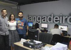 Rafael Luís Azevedo, Jéssica Welma e Adriano Paiva formam equipe da reportagem, juntamente com Mayara Kiwi. (Foto: Lyvia Rocha/Tribuna do Ceará)