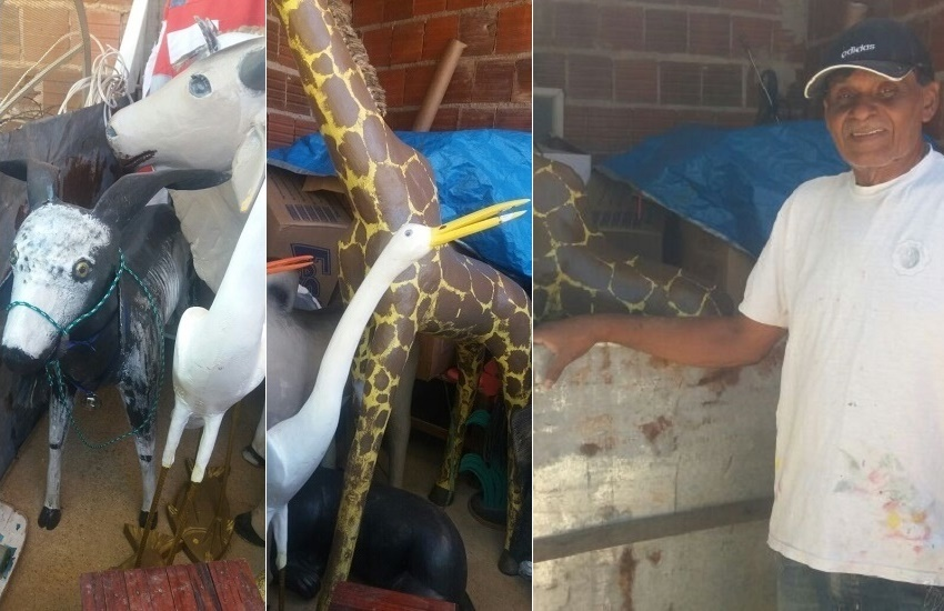 Cearense do Quixeramobim transforma restos de madeira em esculturas de animais de até 2m