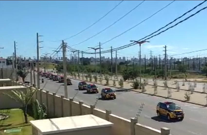 Polícia do Ceará desfila novas viaturas na véspera do lançamento oficial dos carros