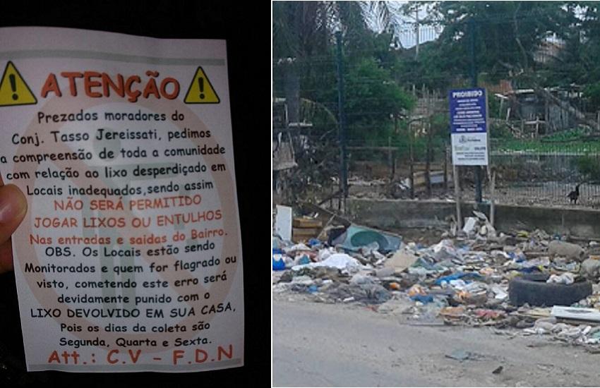 """Panfleto assinado por facções criminosas """"proíbe"""" jogar lixo na rua em Fortaleza"""