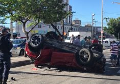Acidente ocorreu no início da tarde desta quinta-feira (FOTO: Reprodução/Whatsapp)