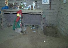 No quintal funcionava um terreiro de umbanda (FOTO: Reprodução/TV Jangadeiro)