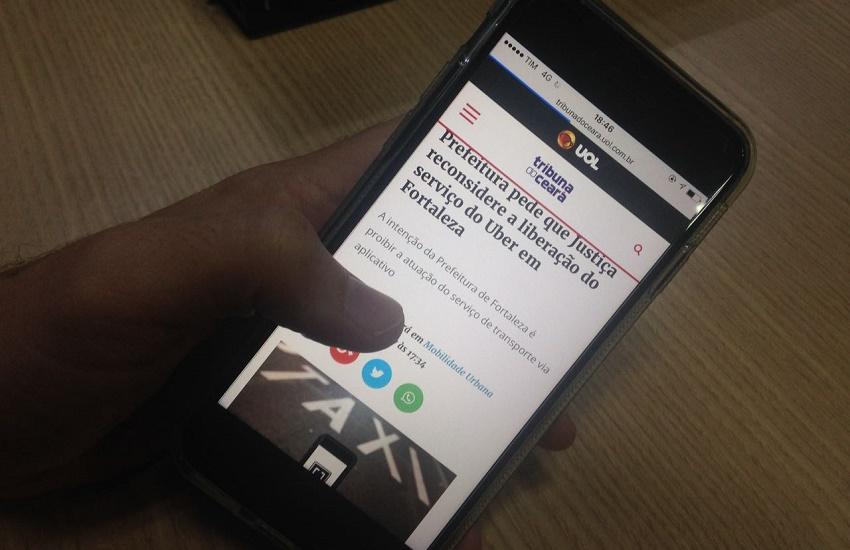 De 1.000 comentários no Tribuna do Ceará, só 5 são contra a atuação do Uber em Fortaleza
