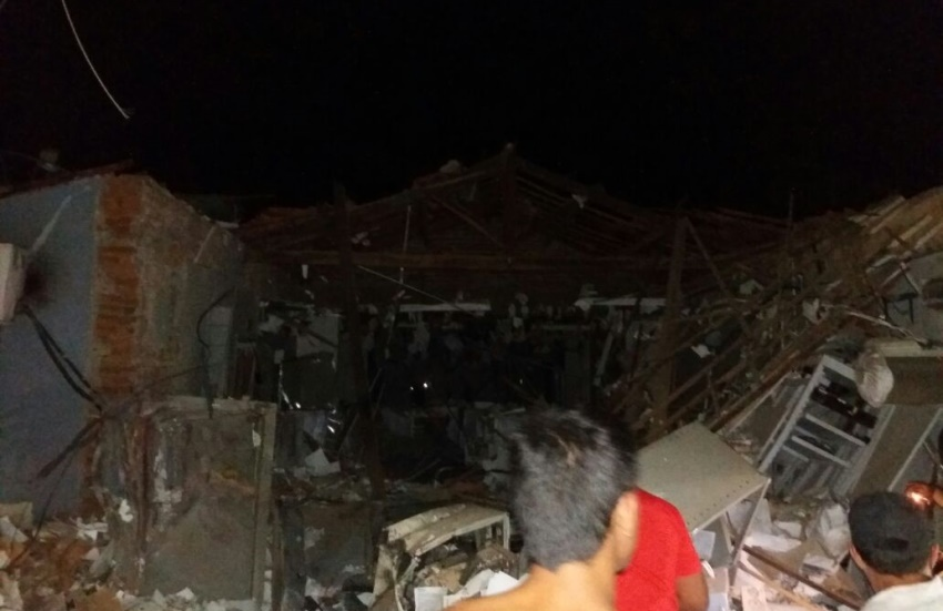 Quadrilha fecha cidade de Potengi e destrói duas agências bancárias na madrugada