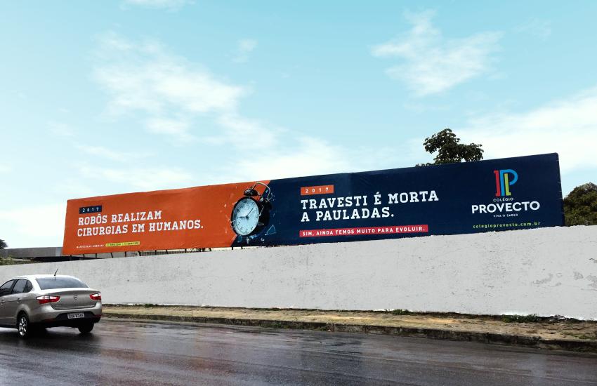 Escola lança campanha que questiona evolução do homem ao comparar avanço tecnológico a crimes bárbaros