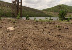 Açude Banabuiú, terceiro maior do Ceará, tem 0,4% do volume de água. (Foto: Jéssica Welma/Tribuna do Ceará)
