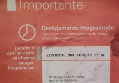 Aviso da Enel sobre desligamento de energia após apagão