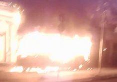 Cinco ônibus foram destruídos em quatro pontos de Fortaleza (FOTO: Reprodução Whatsapp)