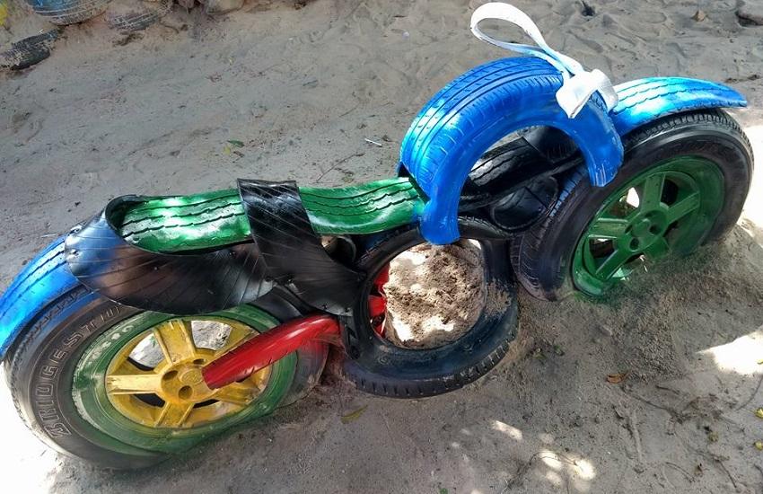 Artesão cearense reaproveita pneus velhos para fabricar incríveis obras de arte