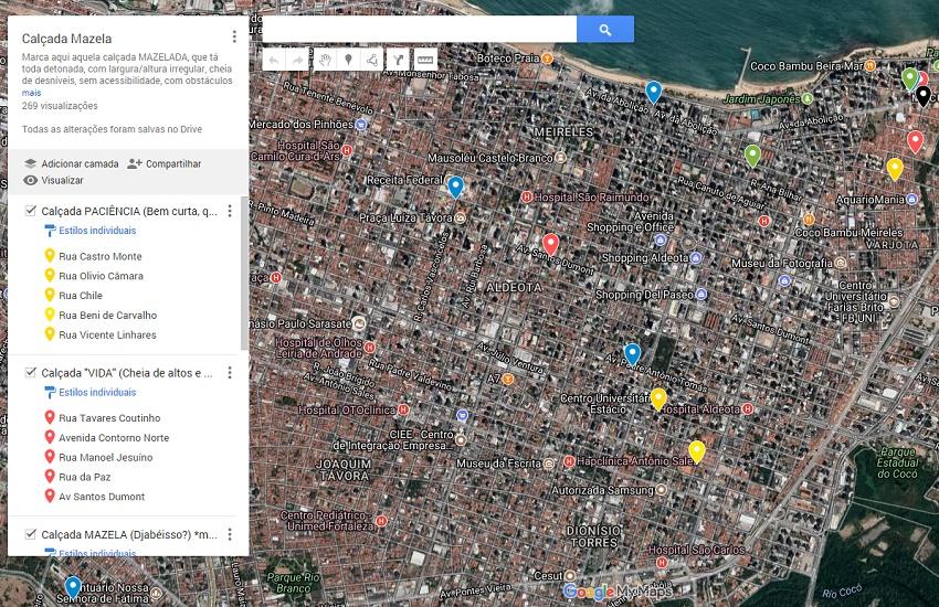 Mapa colaborativo mostra situação das calçadas de Fortaleza