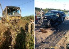 Ônibus e carro batido em referência a Ônibus e carro batido em referência a Acidente entre ônibus escolar e carro deixa oito pessoas feridas em Quixeramobim