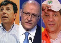 João Amoêdo (Novo), Geraldo Alckmin (PSDB) e Fernando Haddad (PT) visitarão Fortaleza (FOTO: Arte Divulgação)