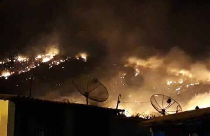 Incêndio de grande proporções atinge serra e se aproxima de hospital em Itapipoca