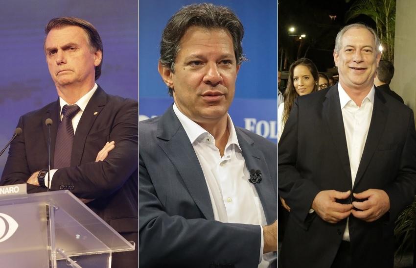 Datafolha mostra Bolsonaro na liderança seguido por Fernando Haddad e Ciro Gomes