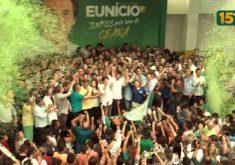 Eunício aparece ao lado de Camilo nas imagens da convenção eleitoral. (Foto: Reprodução)