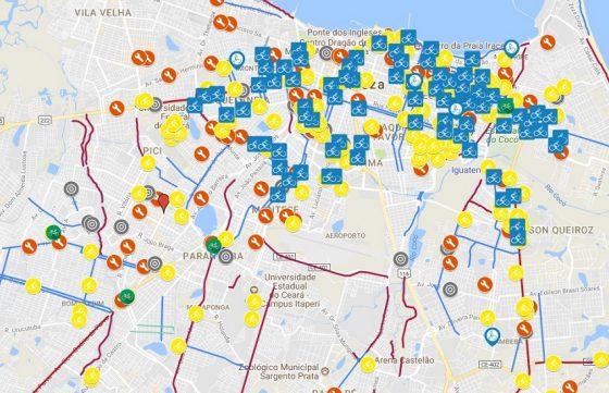 Mapa colaborativo indica aos ciclistas as ciclofaixas, estações, oficinas e bicicletários em Fortaleza. Imagem: Google Maps.