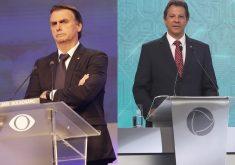 Bolsonaro e Haddad estão tecnicamente empatados na pesquisa para 2° turno. (Foto: Kelly Fuzaro/Band e Cláudio Kbene)