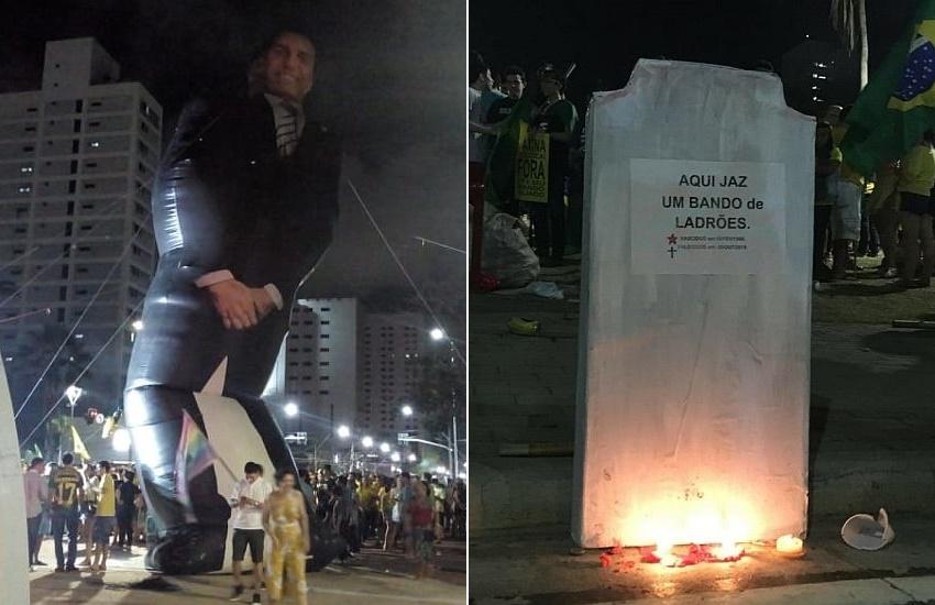 Vitória de Bolsonaro tem festa na Praça Portugal com boneco gigante e lápide do PT