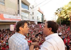 Fernando Haddad e Camilo Santana em comício no Crato, terra natal do governador. (Foto: Divulgação)