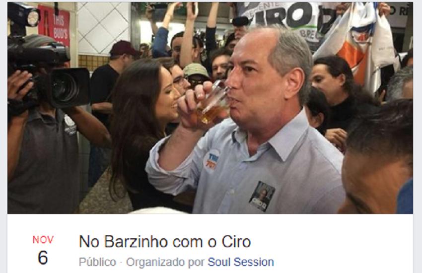 """Cearenses organizam evento """"No Barzinho com o Ciro"""", em referência a entrevista pós-derrota"""