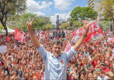 Fernando Haddad fez comício na Praça do Ferreira. (Foto: Ricardo Stuckert)