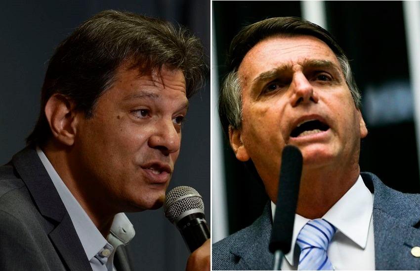Primeira pesquisa após 1º turno aponta Bolsonaro com 54% e Haddad com 46%