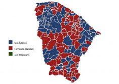 Mapa do Ceará de Fernando Haddad, Ciro Gomes e Jair Bolsonaro