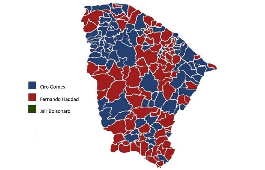 Bolsonaro não venceu em nenhum município do Ceará; Ciro e Haddad empataram em 92 a 92