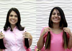 Repórteres Roberta Tavares e Hayanne Narlla desapegaram de 20 centímetros (FOTO: Thales Dídimo/Tribuna do Ceará)