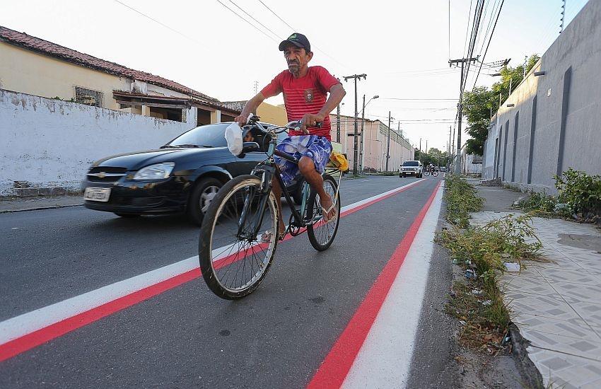Regiões da Aguanambi e do José Bonifácio recebem 6 km de ciclofaixas e ciclovias