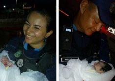 Policiais ajudaram no trabalho de parto (FOTO: Divulgação)