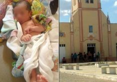 O bebê foi encontrado na porta da igreja por volta das 12h (FOTO: Reprodução/ Whatsapp)