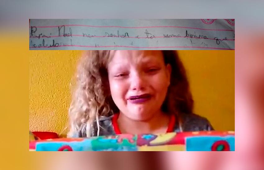 Criança grava vídeo chorando após ter cartinha reescrita em pedido para o Papai Noel