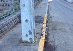 Marcas de bala em paredes e postes retratam a ocorrência na cidade de Milagres (FOTO: Reprodução/TV Jangadeiro)