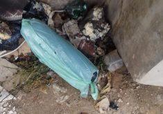 Artefato foi encontrado em uma das pilastras do viaduto(FOTO: Reprodução WhatsApp)