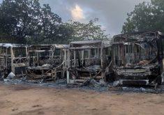 Vários coletivos já foram queimados no Ceará nos últimos dias (Foto: Reprodução/Whatsapp)