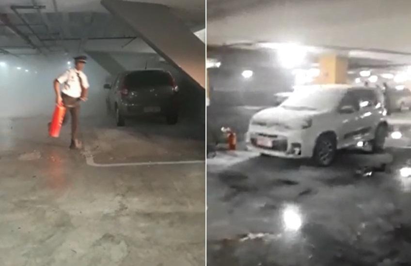 Carros estacionados em shopping são incendiados em ataque