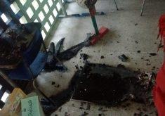 O início das aulas ficou comprometido devido ao ataque (Foto: WhatsApp/Reprodução)