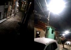 Bandidos quebram lâmpada em poste