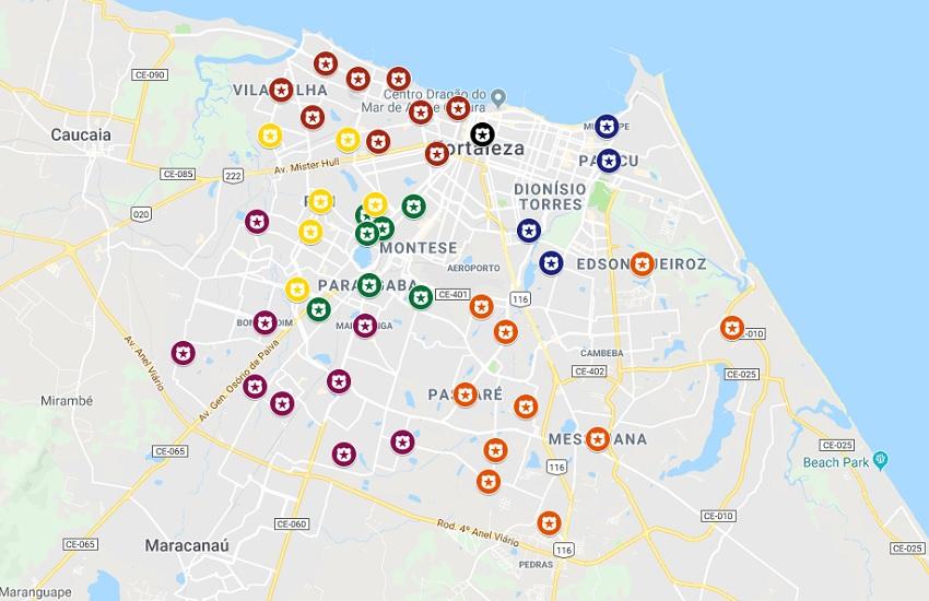 Onda de terror em Fortaleza atinge todas as Regionais; Confira em mapa interativo