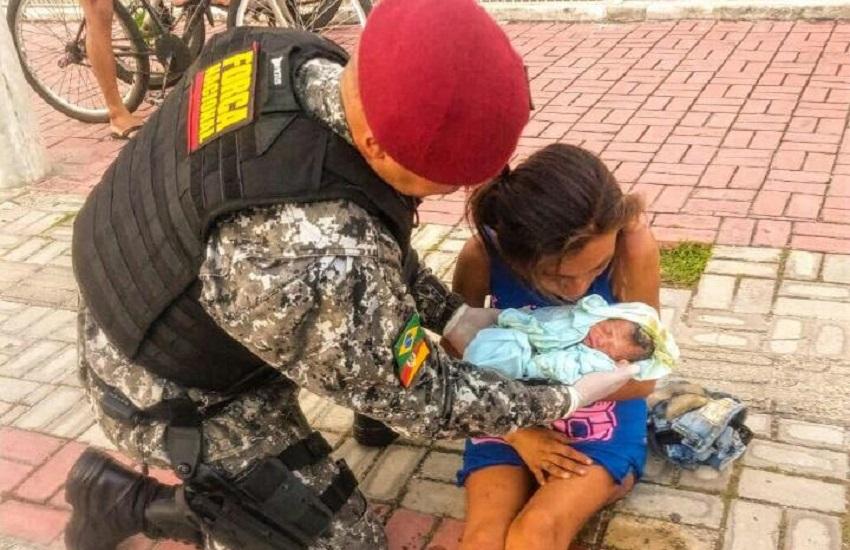 Policiais da Força Nacional ajudam a fazer parto de moradora de rua em Fortaleza
