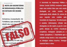 """""""Nota"""" compartilhada em redes sociais é falsa, afirma secretaria. (Foto: Reprodução)"""
