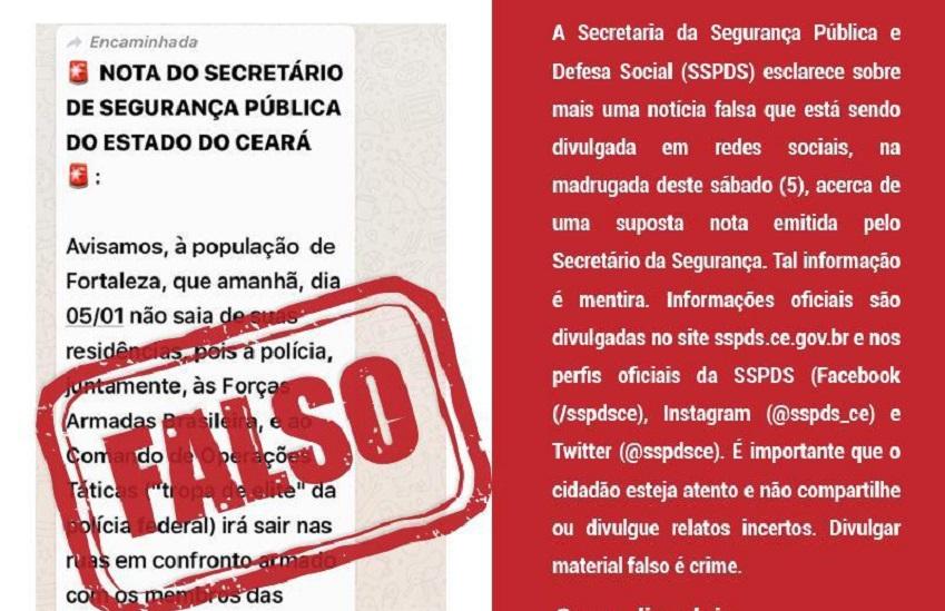 SSPDS afirma que é falsa nota nas redes sociais que determina toque de recolher no Ceará